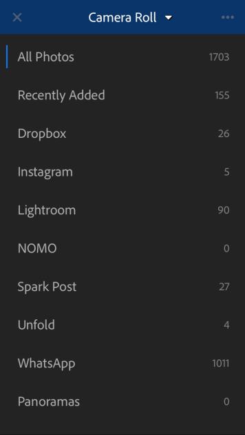 Lightroom membaca folder yang terdapat pada smartphone anda